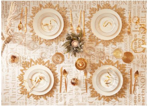 decoracion en dorado para la mesa de navidad